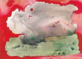 red ink and watercolour abstract painting