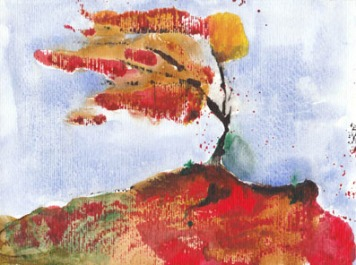 autumnal wind watercolour