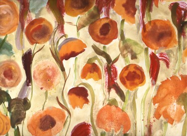 autumn flowers yellow watercolour