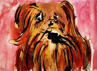 cute sad puppy watercolor pink