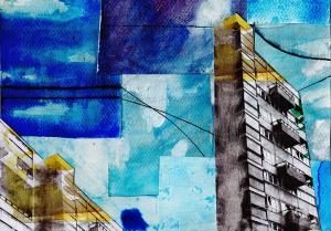 cityscape collage nostalgic utopian city