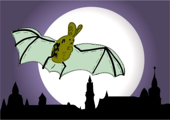 flying bat nighttime illustration