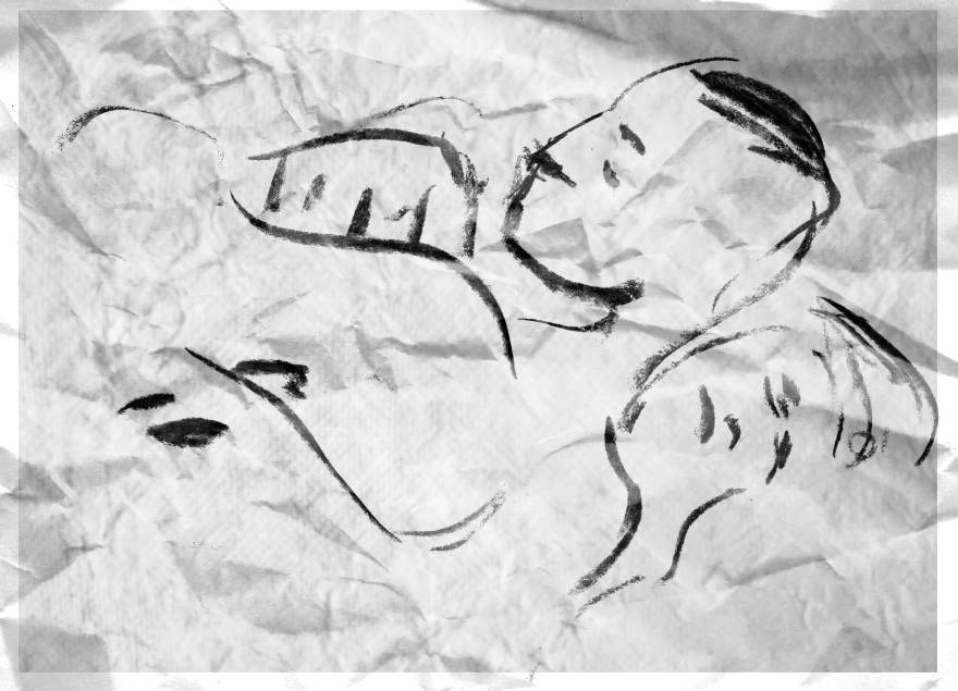 lovers charcoal drawing