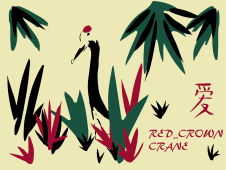 red top crane vector illustration Illustrator CC red panda one of China's dispapperaing species