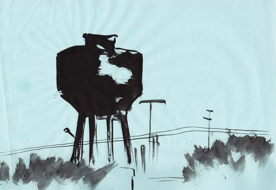 water tower chinese ink painting