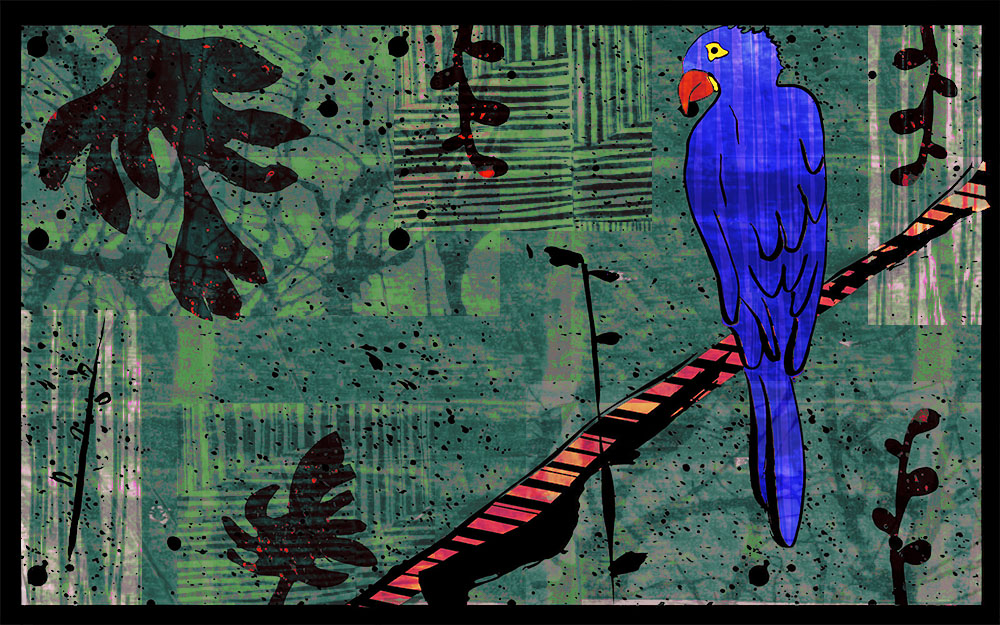 hyacinth macaw digital illustration endangered Amazon bird